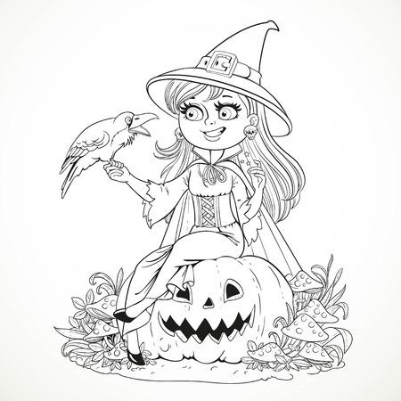 Belle sorcière assise sur une citrouille et parle au corbeau noir décrit pour le livre de coloriage isolé sur fond blanc