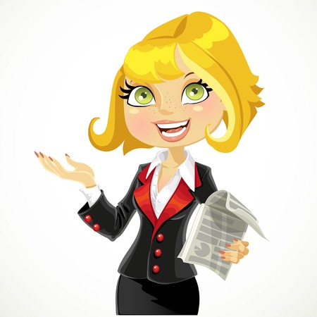 Cute blond business woman explains something or gives a presentation isolated on a white background Ilustracja