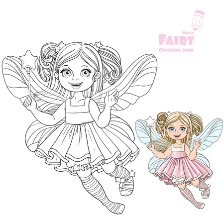 girl magic wand: Cute little fairy girl with a Magic wand color and outlined picture for coloring book on a white background Illustration