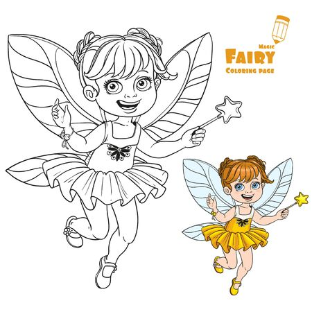 fairy wand: Cute little autumn fairy girl with a Magic wand color and outlined picture for coloring book on a white background