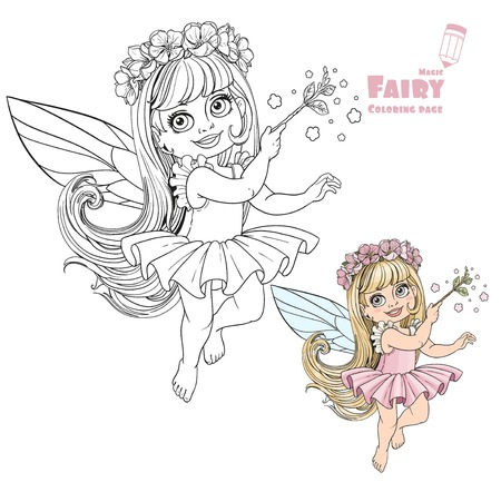 fairy wand: Little spring fairy girl with magic wand color and outlined picture for coloring book on white background