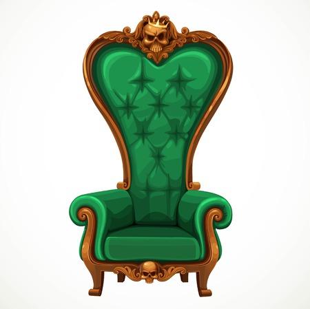 Fotel tapicerowany w kolorze zielonym i wysokim oparciem barokowy samodzielnie na białym tle Ilustracje wektorowe