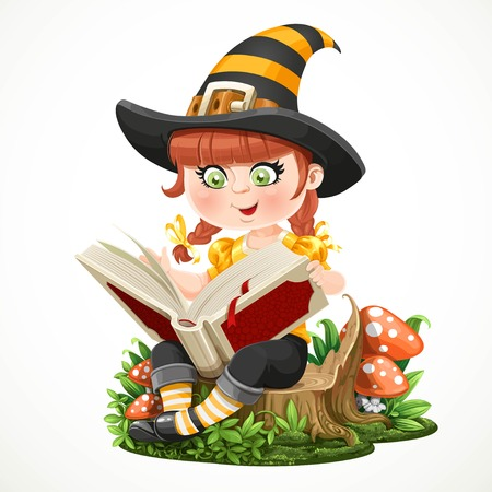 magic book: Cute little girl witch sitting on a tree stump and reads magic book isolated on white background Illustration