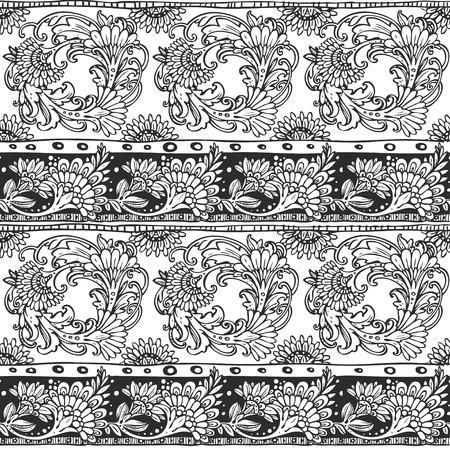 ornamento sin fisuras de los elementos de flores de bosquejo en estilo étnico blanco y negro