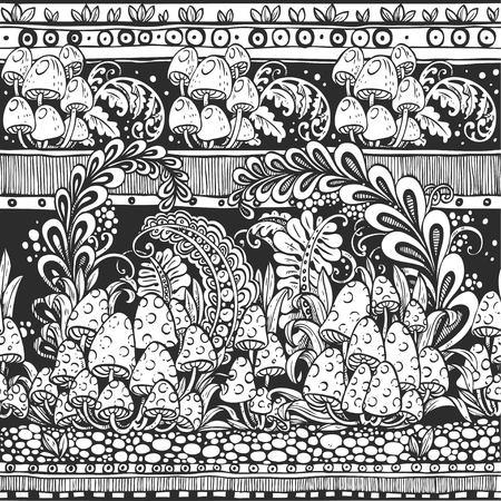 hongo: Modelo inconsútil de las setas de bosquejo y hojas en blanco y negro