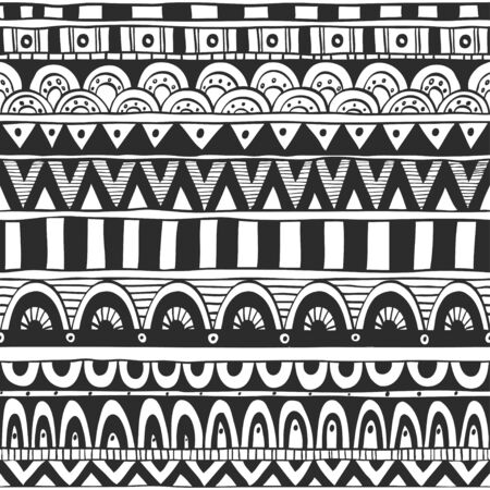tribal pattern: Seamless ornament from geometric elements in ethnic style black and white