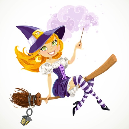 Cute redhead witch with magic wand flying on a broom isolated on a white background