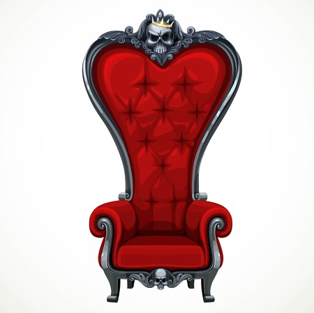 high chair: Armchair upholstered in red and high-backed baroque isolated on white background. Throne for the dark Lord or vampire
