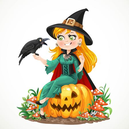 black raven: Beautiful witch sitting on a pumpkin and talks to the black raven isolated on white background