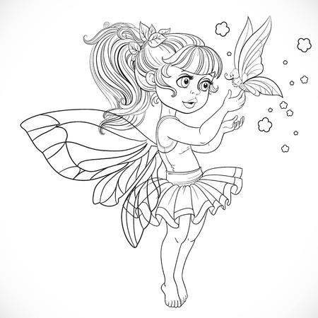 Sweet fairy in tutu holding a large butterfly on the finger outlined for coloring book isolated on a white background Illustration