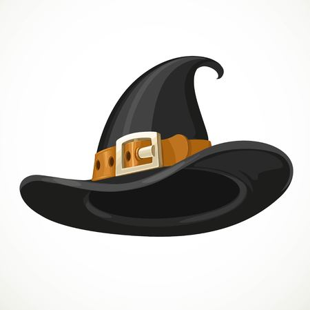 Witch hat leather belt with shiny buckle isolated on a white background