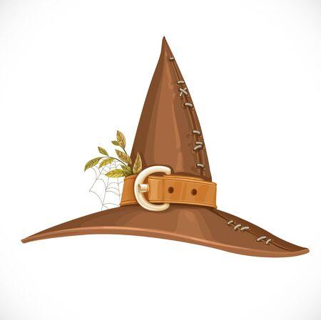 adivino: sombrero de bruja pueblo con un cintur�n de cuero y hierbas aisladas sobre fondo blanco