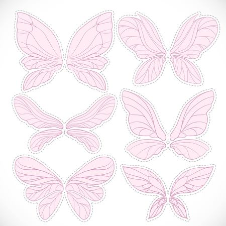 complement: Pink fairy wings with dotted outline for cutting set isolated on a white background Illustration