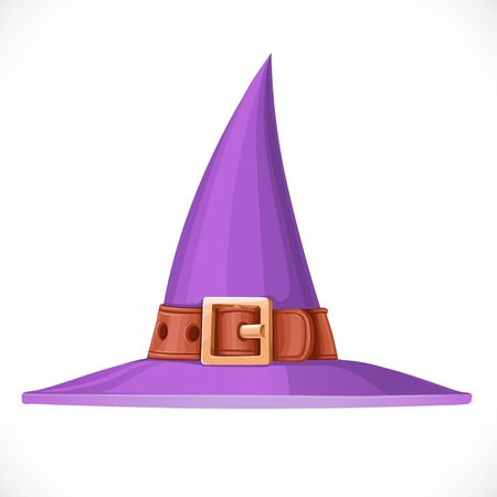 leather belt: Purple witch hat with a leather belt and shiny buckle isolated on white background