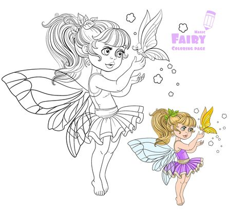pixy: Sweet fairy in tutu holding a large butterfly on the finger  color and outlined picture for coloring book on white background