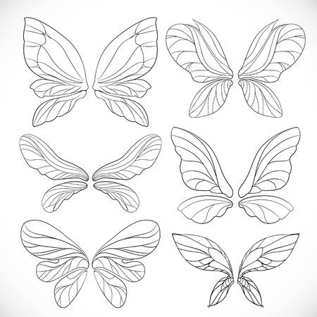 Fairy skrzydła kontury zestaw samodzielnie na białym tle Ilustracje wektorowe