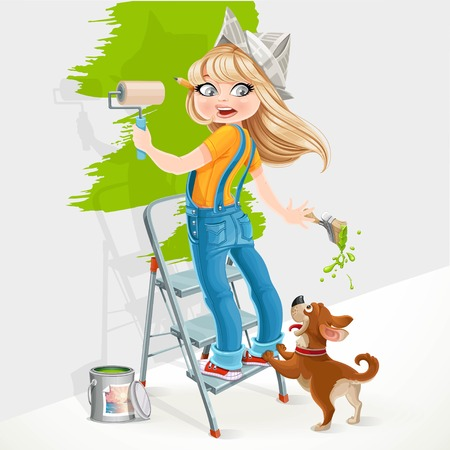 unexpectedness: Cute girl standing on a stepladder with a paint roller and frightened dog playful isolated on white background