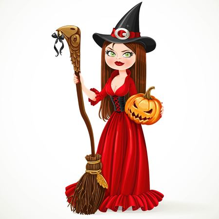 red hair: Beautiful witch in a red dress holding a broom for flying and a pumpkin isolated on a white background Illustration