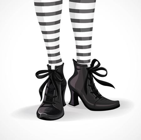 Halloween closeup witch legs in striped stockings and black boots isolated on a white background Vectores