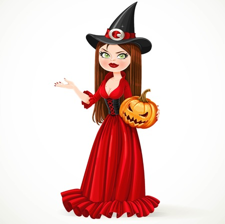aside: Beautiful witch in a red dress holding a pumpkin showing hand aside isolated on a white background