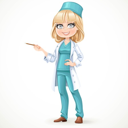 surgeon: Beautiful girl doctor in surgeon costume and medical coat showing pencil aside stand on the white background Illustration