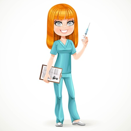 Redhead nurse in green suit preparing make an injection isolated on white background
