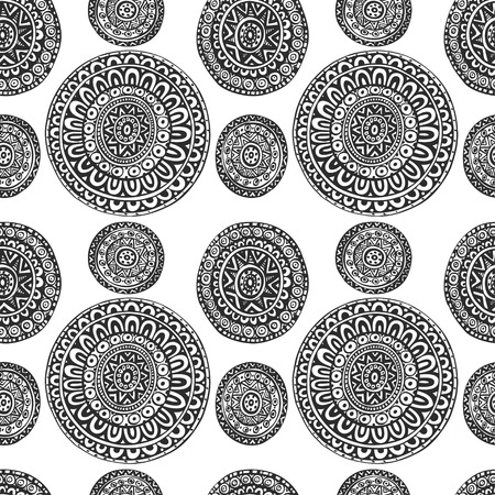 style geometric: Seamless pattern of round ornaments in ethnic geometric style black and white