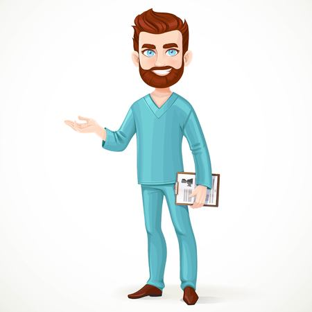 tells: Bearded doctor in green surgical suit holding medical history and something tells