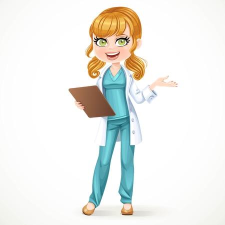 Nettes Mädchen Arzt in einem weißen Mantel hält planchette mit einer Geschichte von Krankheit und sagt etwas isoliert auf weißem Hintergrund