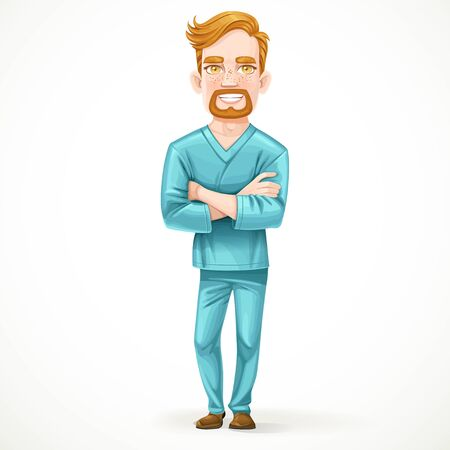 arms folded: Cute male doctor in green surgical suit with arms folded isolated on white background Illustration