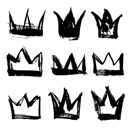 complement: Set texture strokes thick paint in the form of a crown isolated on white background