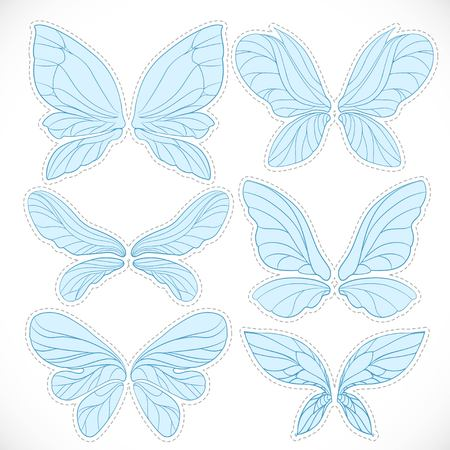 Blue fairy wings with dotted outline for cutting set isolated on a white background