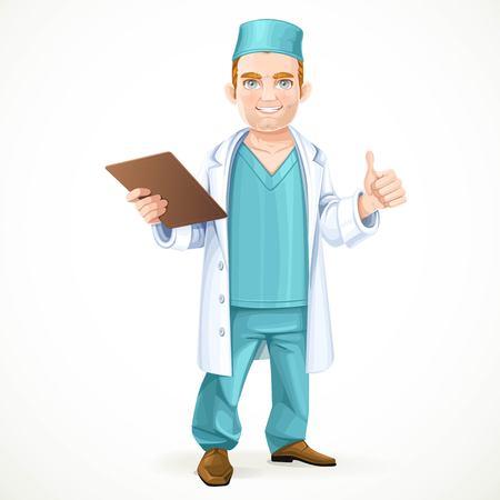 bata de laboratorio: doctor lindo en traje quirúrgico y bata de laboratorio blanco con un historial médico y que muestra el gesto de que todo va a estar bien aislado en el fondo blanco