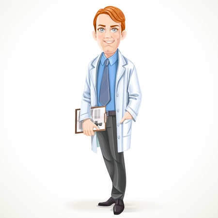 white coat: Cute male doctor in a shirt and tie and medical coat isolated on white background Illustration