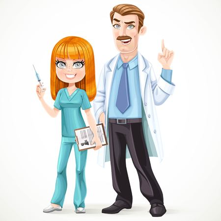 nurse injection: Doctor mustached man in a white medical coat explains something and nurse preparing make an injection isolated on white background Illustration