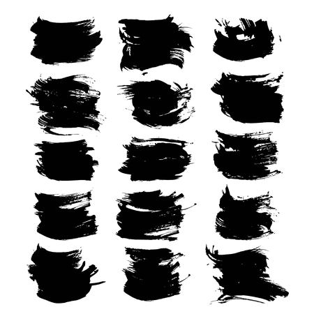 black textured background: Textured strokes black paint  set isolated on a white background Illustration
