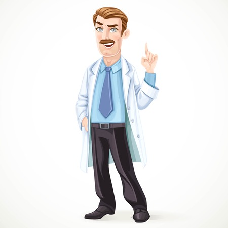 mustached: Doctor mustached man in a white medical coat explains something isolated on white background