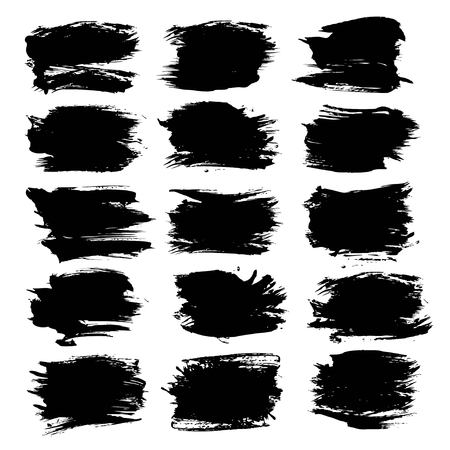 black textured background: Textured abstract strokes thick black paint  set isolated on a white background Illustration