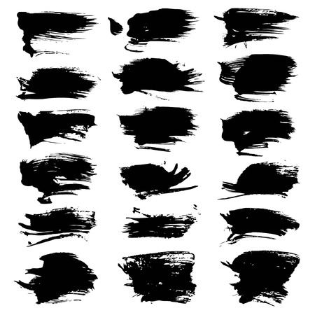 black textured background: Textured abstract strokes thick black paint big set isolated on a white background