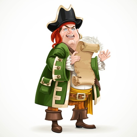 gold buckle: Cute old pirate wearing a camisole holding a shabby parchment and feather standing on a white background