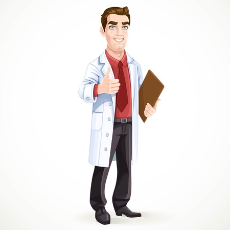 white coat: Cute male doctor in medical coat shows gesture thumbs up isolated on white background