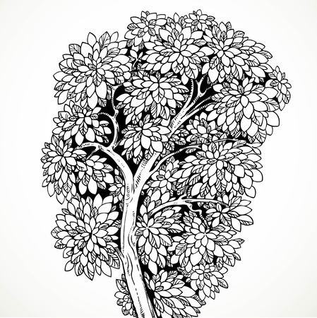 graphically: Graphically drawing  tree  isolated on white background