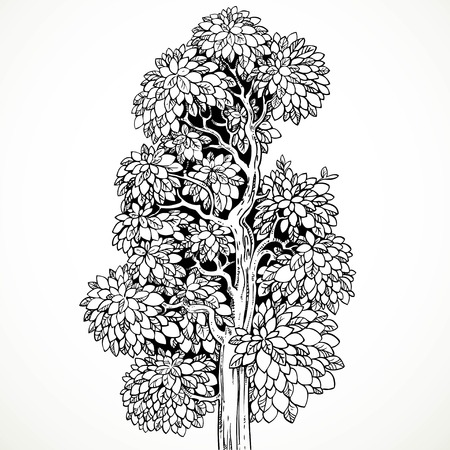 graphically: Graphically drawing black ink tree  isolated on white background