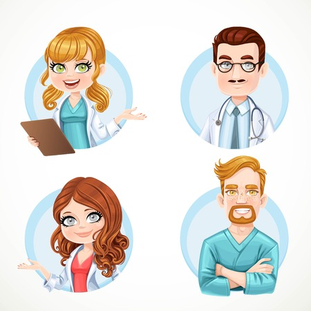surgical nurse: Round avatars portraits of doctors and nurse in white medical coat and surgical suit isolated on white background set 1