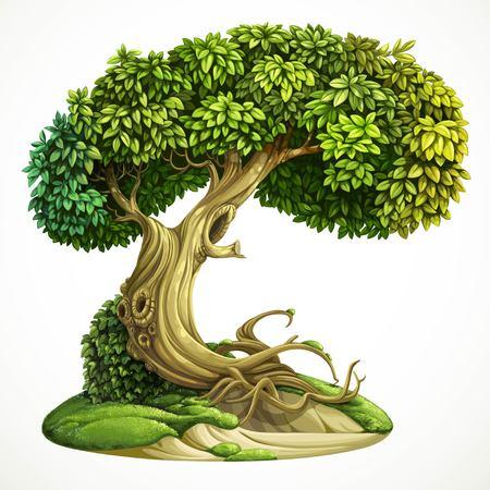 hojas antiguas: Hada vieja cubierta de hiedra, árbol de hoja caduca en la colina de musgo. Ilustración detallada del vector aislado en el fondo blanco