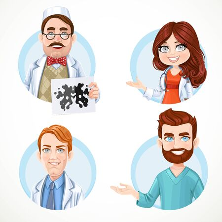 surgical coat: Round avatars portraits of men and women doctors in white medical coat and surgical suit  isolated on white background