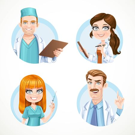 Roczne awatarów portrety lekarzy i pielęgniarki samodzielnie na białym tle zestaw 1 Ilustracje wektorowe