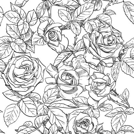 Seamless pattern of black and white roses isolated on white background