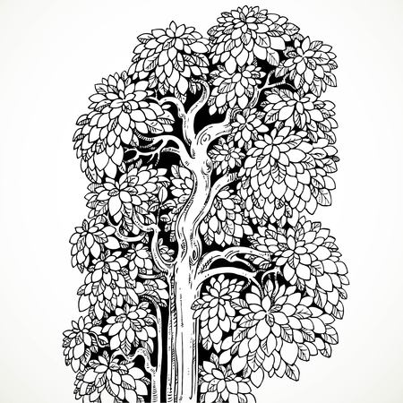 graphically: Graphically drawing black ink tree with luxuriant branches and leaves isolated on white background Illustration