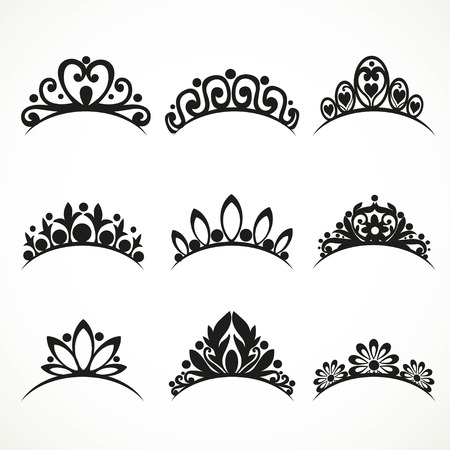 snow queen: Silhouettes of tiaras of various shapes with flowers and hearts on a white background